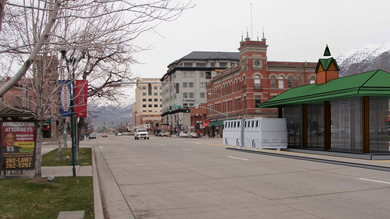 Proposed Bus Rapid Transit Station on the Provo BRT Line—Used by the Land Planner/Urban Designer as an aide in creating Proposal Illustration
